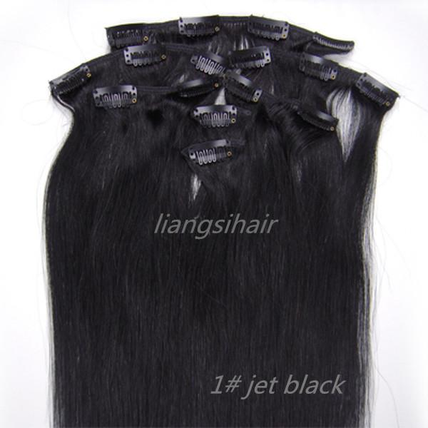 "5sets 15""-26"" 7pcs 1# Jet Black Straight Clip in Hair Brazilian/Malaysian/Peruvian Remy Human Hair Extensions Free Shipping DHL"