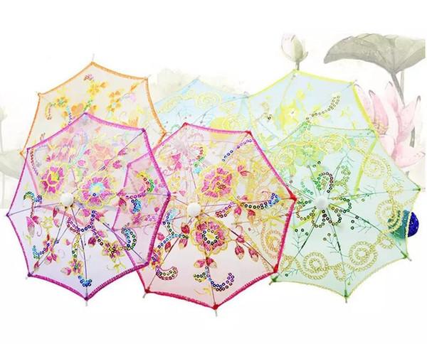 Mini Kleinen Regenschirm Kinder Tanzen Requisiten Handwerk Spitze Stickerei Regenschirm Bühnen Performance Party Geschenke Souvenir MYY