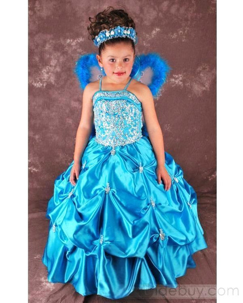 Angel Girls Pageant Dresses 2015 Gorgeous Ruffled Skirt Crystal Beads Ball Gown Ritzee Girls Pageant Gowns Flower Girl Dresses 119388