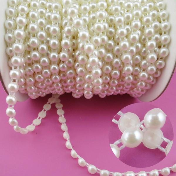 All'ingrosso-6mm Perle 25m / rotolo New Craft Beads Perle Sew On Perolas Para Artesanato 5 Colori ABS Halfback Flatback Trim per Abito da sposa