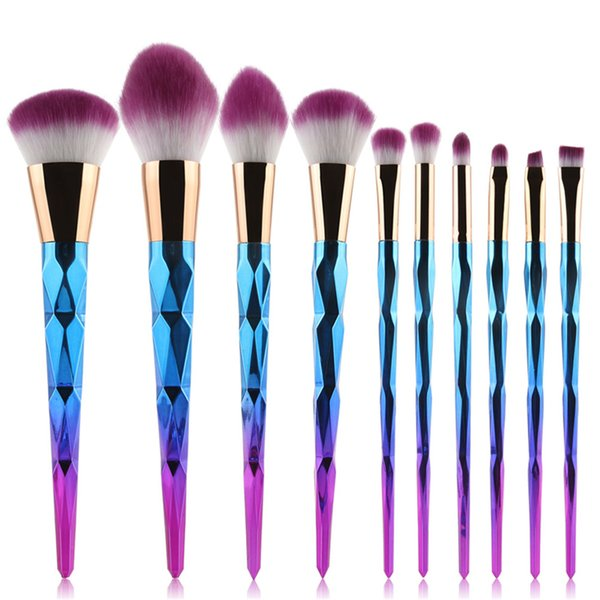 10pcs Pro Diamond Shape Makeup Brush Set Powder Blusher Eyeshadow Eyeliner Eyebrow Lip Brush Rainbow Golden Cosmetic Tool Kits