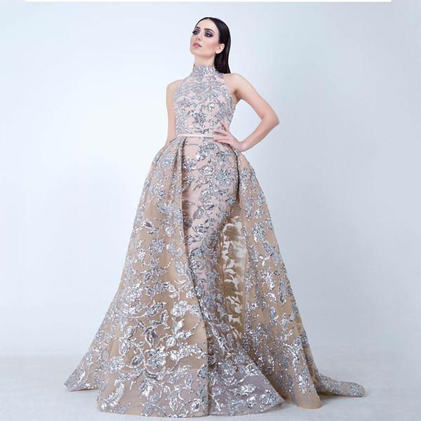 Yousef aljasmi Labourjoisie Evening Dresses Prom Gowns Overskirt Detachable Train Champagne Mermaid Lace Applique Party Dress High Neck