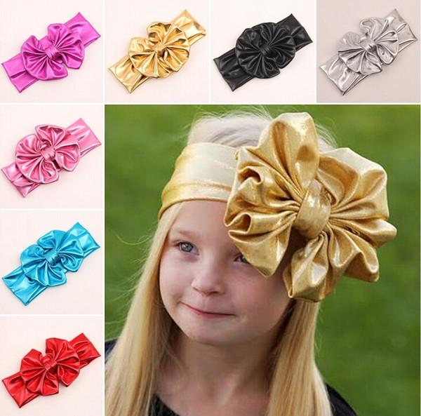 2019 Bébé Dorure Or Bowknot Oreilles De Lapin Oreilles Bandeaux Enfants Infantile De Luxe Bandeaux Rubans Chapeaux Accessoires de Cheveux Enfants Cadeau Partie