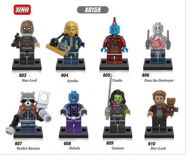 HOTTEST 9pcs Guardians of the Galaxy Marvel DC Building Blocks Groot Super Heroes Avengers Action Figures ronan camora drax destroyer nebula