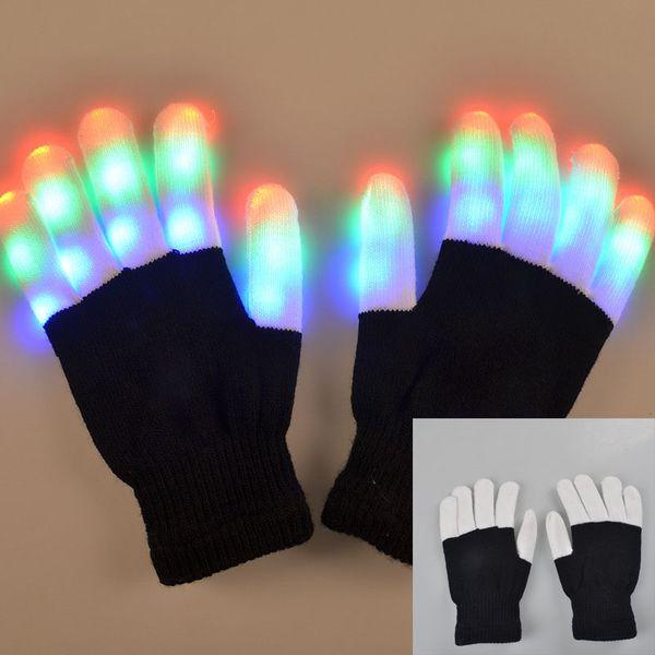 Guanti lampeggianti Finger Guanti LED colorati Guanti Rave 7 colori Light Show Flash Mitten Danza luminosa Giocattoli novità