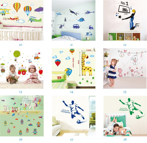 Mix Order Wholesale Removable Home Decals Kids Room Wall Stickers Nursery Wall Decor 50x70cm Wall Art Free Shipping
