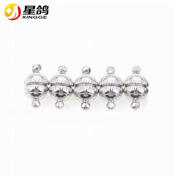 8 * 14mm buco 1.2mm rotonda palla forte magnete fibbie catenacci magnetici per monili che fanno accessori bracciali collana filo all'ingrosso