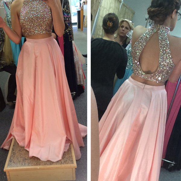 Hot Sale Two Pieces Dresses Blush Pink Prom Dress 2016 Colorful Crystals Crop Top with Cut Out Open Back High Neck Halter Cheap