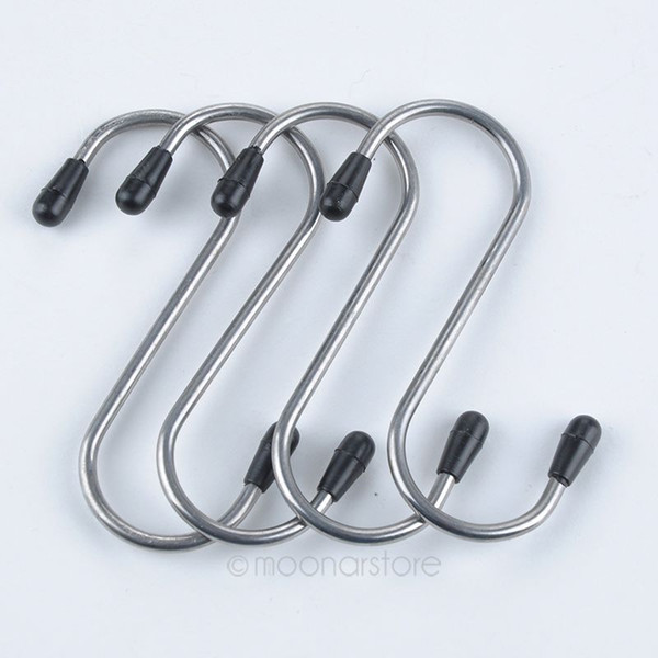 Wholesale- 4 Pcs Stainless Steel Hanger Clasp Rack S Shape Hooks Clothes Pot Pan 7.7*2.7cm