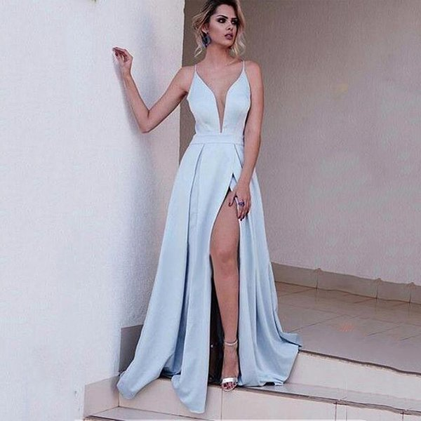 5328090c2 Graceful satinado correas espaguetis escote una línea vestido de fiesta  Sexy sin espalda luz azul hendidura