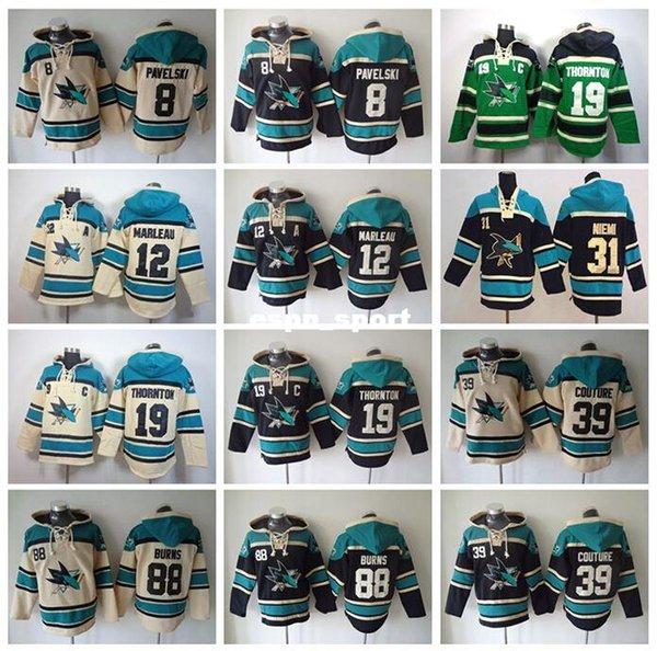 Factory Outlet, San Jose Sharks Hockey Hoodie Ice Patrick Marleau Hoody Joe Thornton 19 Old Time 8 Joe Pavelski Sweatshirt 39 Logan Couture