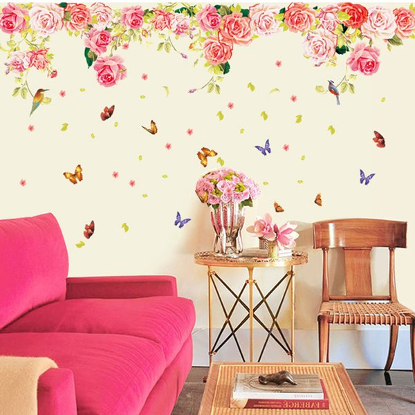 Large Flower Butterfly Self Adhesive Vinyl Removable Decal For ...