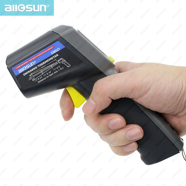 Yüksek Doğruluk El Dijital Kızılötesi Termometre Gun tipi LCD ekran ile temassız Lazer Sıcaklık Test All-Sun EM521
