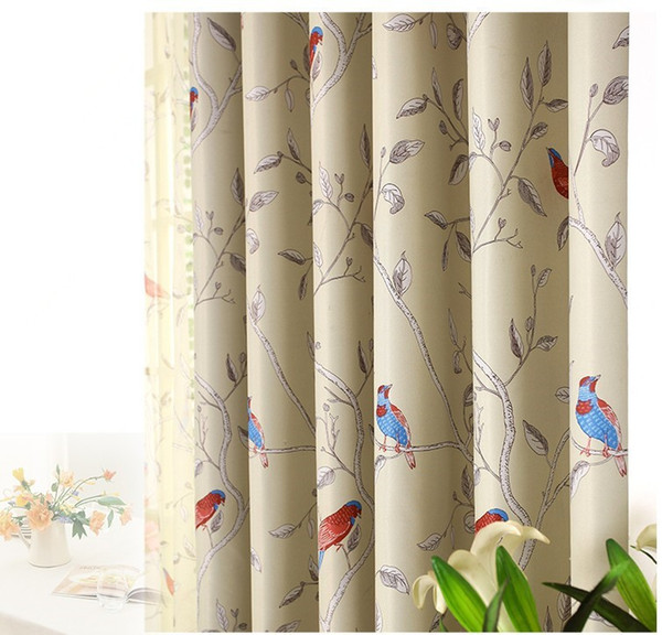 top popular New Arrival Room Darkening Printing Flower And Bird Curtain tulle Curtains for living room Free Shipping 2020