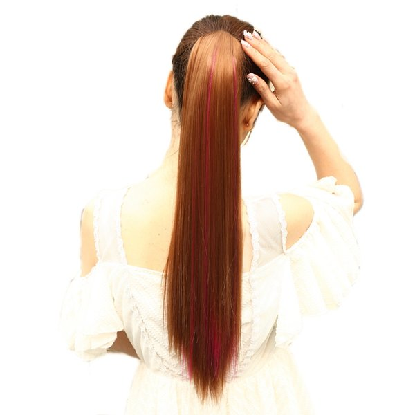 24''Long Highlight Ponytail Claw Drawstring Straight Ponytail Heat Resistant Clip In Hair Extensions Hair Tail Hairpiece
