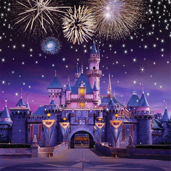 Köpüklü Fireworks Yıldız Vintage Kale Prenses Fotoğraf Arka Planında Vinil Kumaş Çocuk Çocuk Doğum Günü Partisi Fotoğraf Stüdyosu Arka Plan