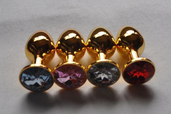 Bunda de ouro plug com cristal butt plugue anal brinquedos sexuais tamanho pequeno