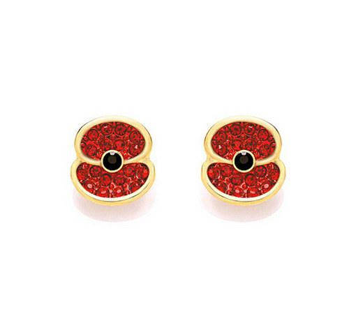 Fashion Jewelry Small Size Gold Tone Red Crystal Rhinestone Emerald and Diamante Small Cute Poppy Earring Studs