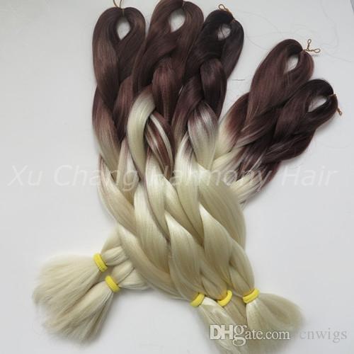 Kanekalon Jumbo Box intrecciare i capelli sintetici 24 pollici 100g BrownBlonde / 613 Ombre Two Tone Xpression Hair Extension