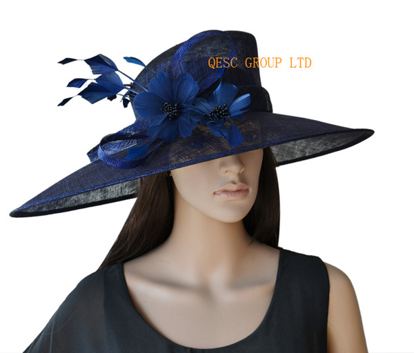 best selling Navy Blue X Large Sinamay Kentucky Derby Hat with feathers flower for church wedding races.Brim width 19.5cm