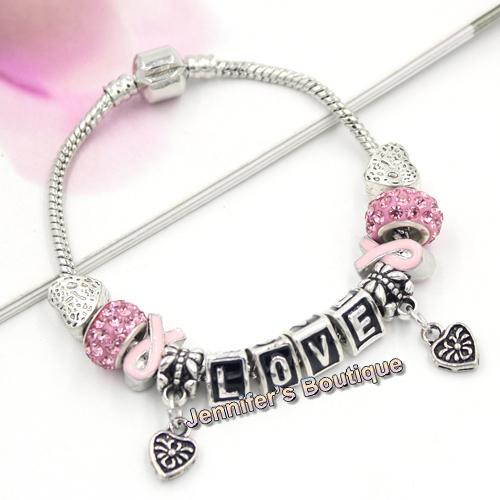 Free Shipping New Arrival Breast Cancer Awareness Jewelry DIY Interchangeable Pink Ribbon Letter Love Heart Charm Bracelet Jewelry Wholesale