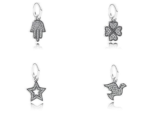 100% 925 Sterling silver heart charm bracelets fits DIY bracelet and necklace stars cup eye wing peace Clover hand pendants