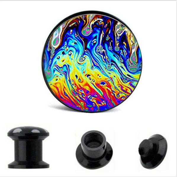 best selling Acrylic rainbow Logo Internal thread Ear Gauge Plug And Tunnel Stretcher Expander 4-16mm Screw Fit Plug Piercing