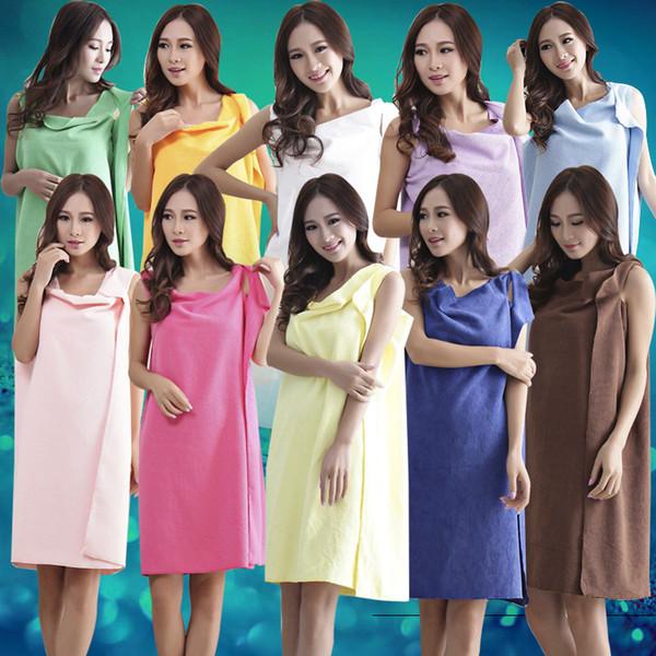 Hot Sales Women Lady SPA Shower Robe Body Wrap Bath Towel Bathrobe Swimwear Dress Gown Absorbent 18 Colors