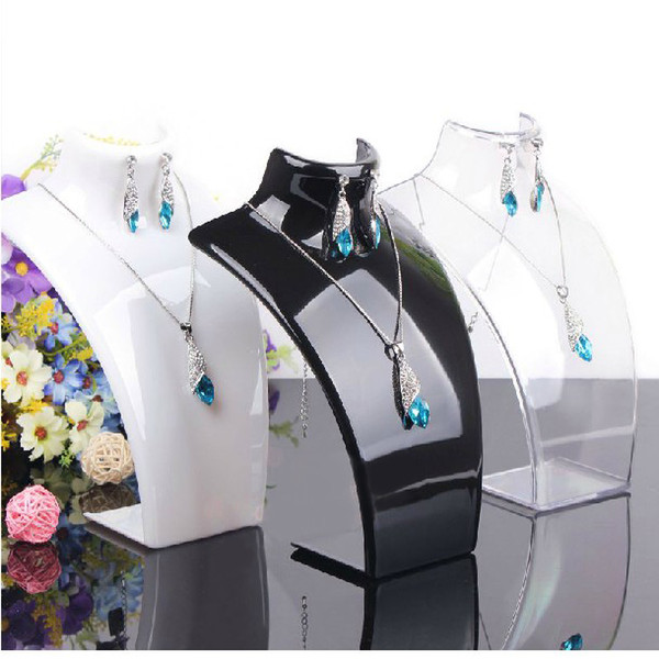 best selling Earring Necklace Jewelry Set Neck Model Cheap Resin Acrylic Jewelry Display Stand Mannequin Plastic Pendant Holder Rack