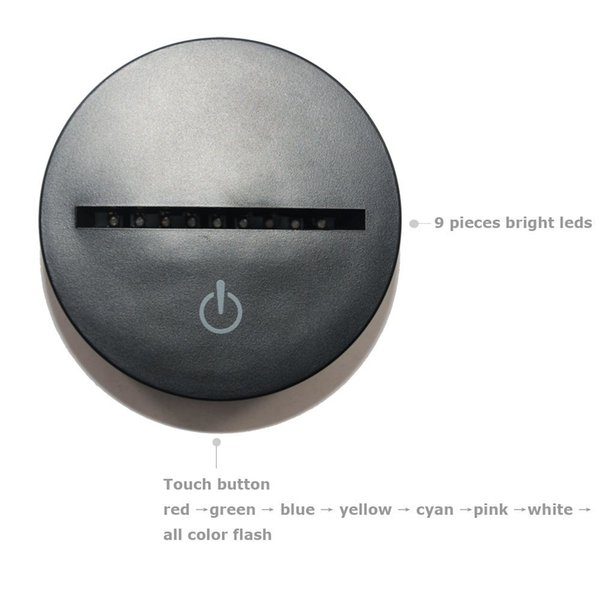 Base de lámpara LED con luces RGB con 10 LED para panel de luz de acrílico de 4 mm 5ta batería alimentada por USB de fábrica al por mayor