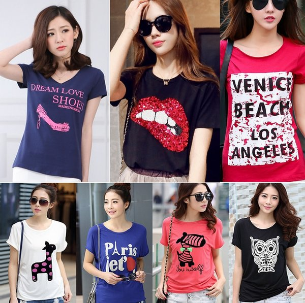 best selling In Stock Women Summer Short Sleeve T shirts Mixed Colours Free Sizes