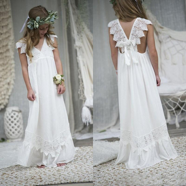 top popular Newly Beach Boho Flower Girl Dresses 2019 Chiffon Custom Size Holy Communion Gowns V Neck Kid Formal Dresses 2019