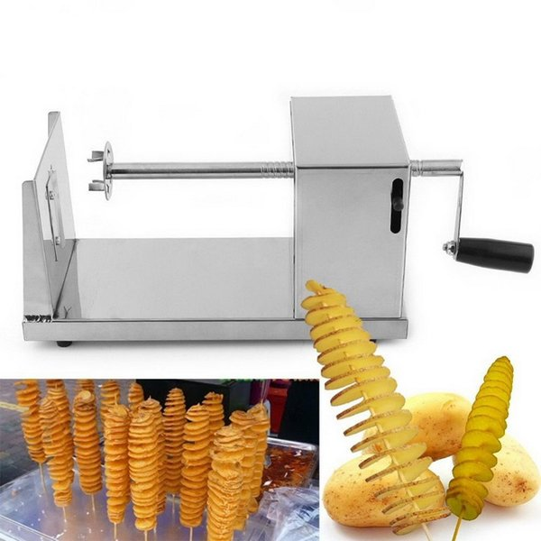 1pcs Stainless Steel Manual Twisted Potato Slicer Spiral French Fry Vegetable Cutter Brand New
