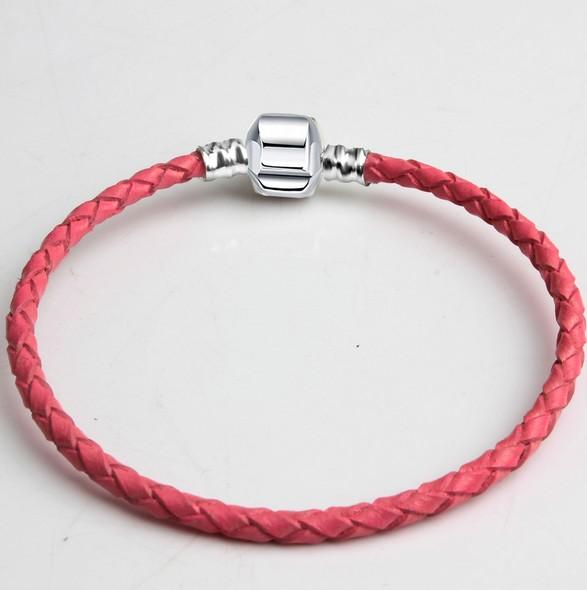 30pcs Brand New Mixed Size Silver Leather Snake Chain for Big Hole European Style Beads fit Murano Beads Pandora DIY Bracelets Bangles Pink