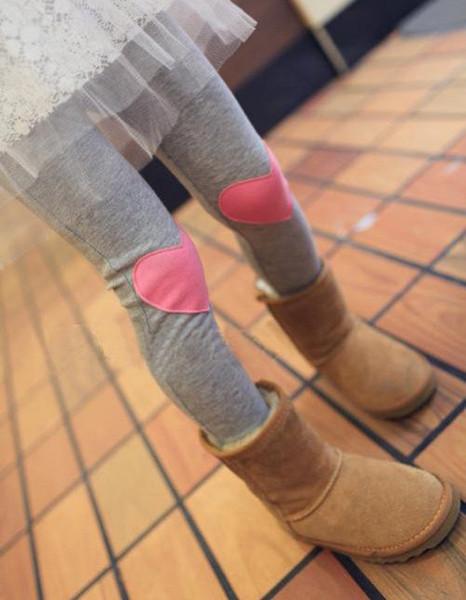 Kinder Mädchen Leggings lange Hosen Childs grau Herz gepatcht Herbst Kinder Strumpfhosen Mädchen Outwear Hosen Legging Piink gelb grau blau M1927