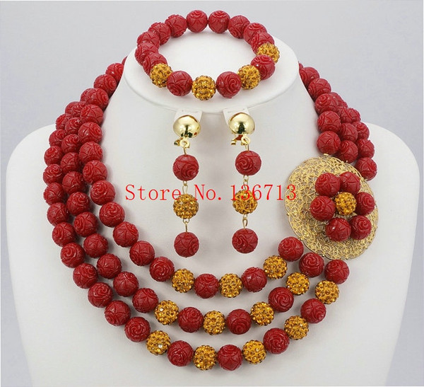 Luxury Coral Beads Bridal Jewelry Sets African Nigerian Wedding Beads for Women Jewelry Set Choker Necklace Free Shipping HD302-2
