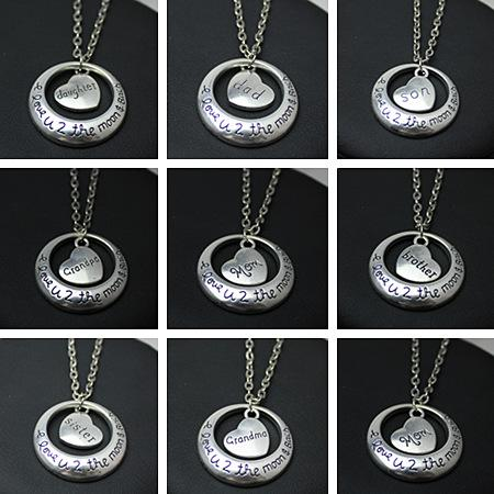 Fashion Family Members Of the Necklace I Love You to the Moon And Back Heart Moon Charm Pendant Necklace