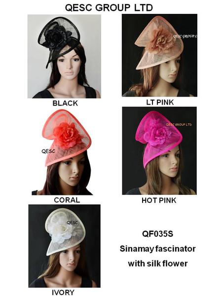 NOUVEAU DESIGN HOTsinamay fascinator / chapeau de mariage fedora en forme spéciale avec fleur en soie, blanc / noir, ivoire, rose, noir / rouge