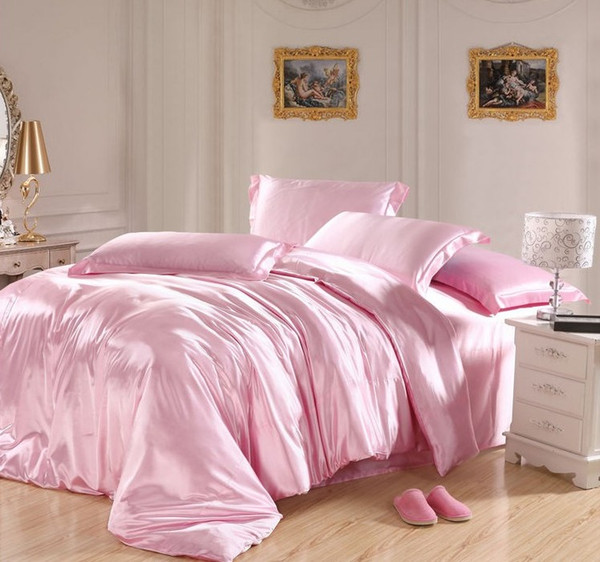 Light Pink bedding sets Silk sheets satin California king size queen double quilt duvet cover bed in a bag bedspread doona 5pcs