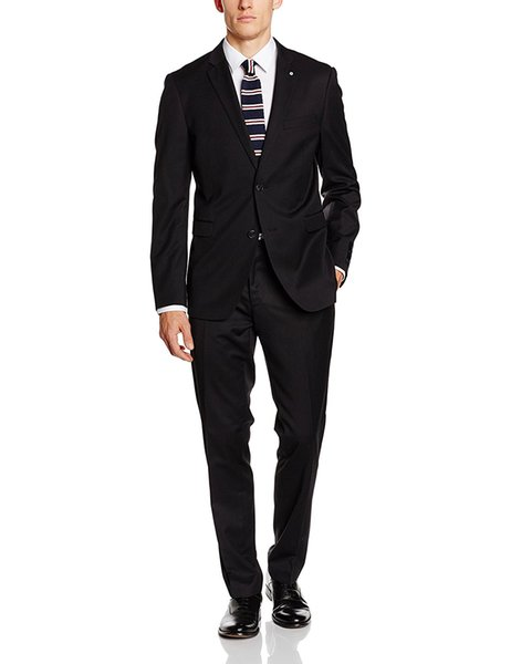 Classic black suit of the groom's best man wedding dress shawl collar crime two buttons gentleman dinner party wear (coat + pants + vest )