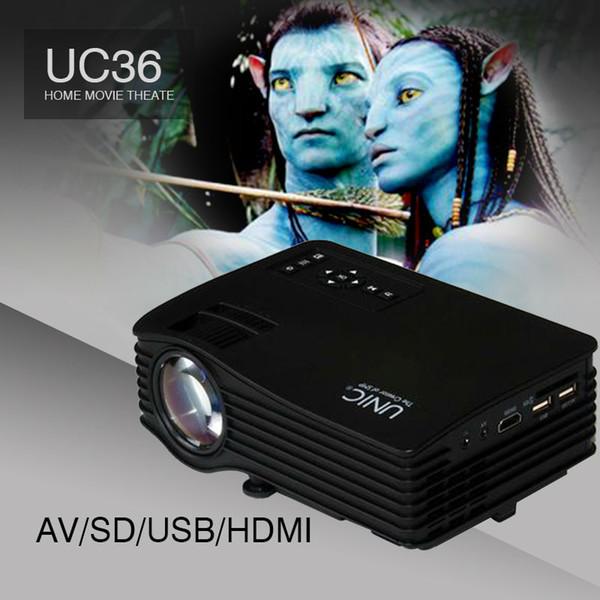 Vente en gros - Utilisation à domicile UC36 Mini Portable LED LCD 1080P Projecteur Projecteur Beamer avec HDMI AV USB SD pour PC TV Ordinateur portable Smartphones Xbox