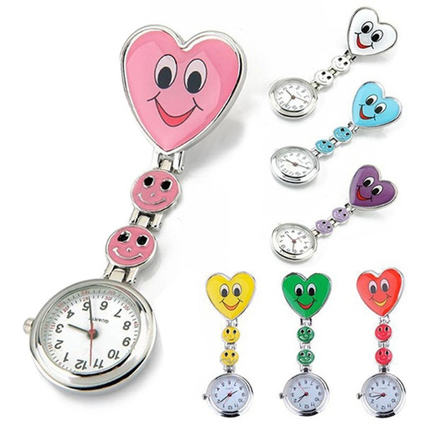 Heart Shape Cartoon Smile Face Nurse Watch Clip On Fob Brooch Hanging Pocket Watch Fobwatch Nurse Medical Tunic Watch
