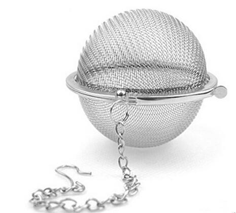 best selling 120pcs lot Stainless Steel Tea Pot Infuser Sphere Mesh Strainer Ball 5.5cm , silver color free shipping