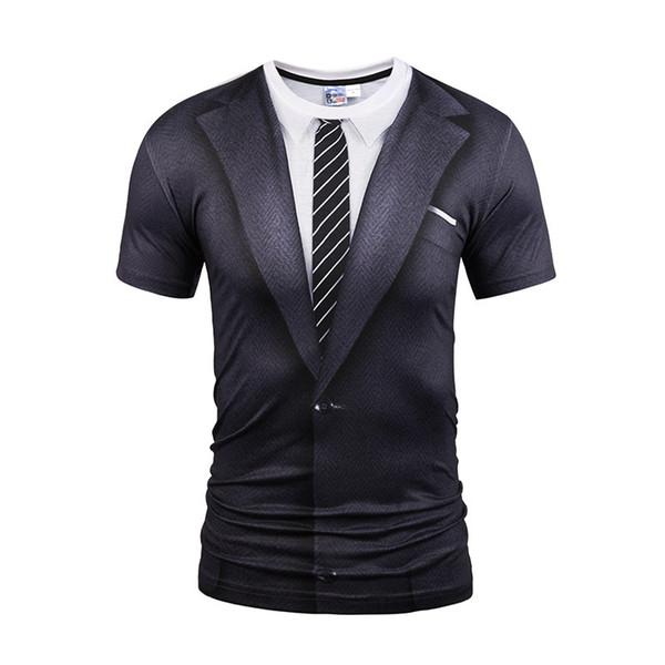 3D t men's dress wholesale Europe short short sleeved false two funny digital printing creative GIFT T-SHIRT