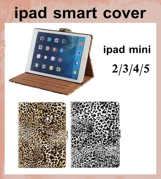 Custodia in pelle magnetica Smart Case Cover in pelle PU Leopard Print per Apple iPad Mini ipad 2 3 4 5 aria con Stand funzione sveglia in sonno dhl gratuito PCC037