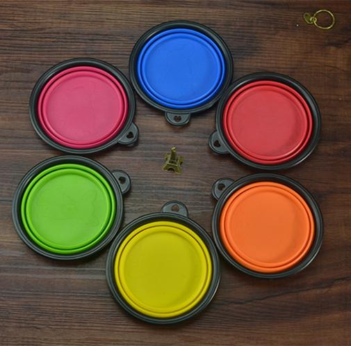 top popular Pet Supplies Bowl Dog Cat Feeders Bowls Dishes Outdoor Portable Collapsible Silicone Caliber 13CM Height 5.5CM Bottom Diameter 9CM DHL 2021