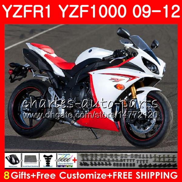 Bodywork For YAMAHA YZF white black 1000 R 1 YZF-1000 YZF-R1 09 12 Body 85NO30 YZF1000 YZFR1 09 10 11 12 YZF R1 2009 2010 2011 2012 Fairing