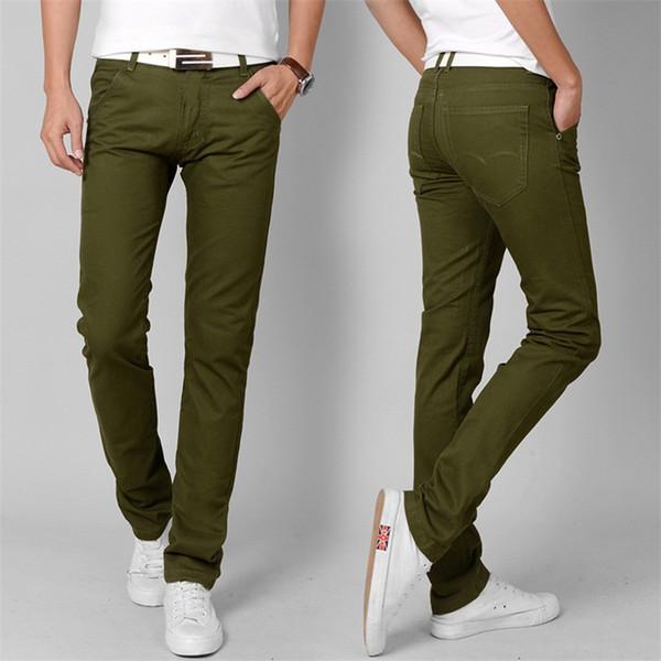 Atacado-Moda de Nova Alta Qualidade Calças de Algodão Homens Primavera Reta exército verde Longo Masculino Casual Calças Slim fit plus Size cargo basculador