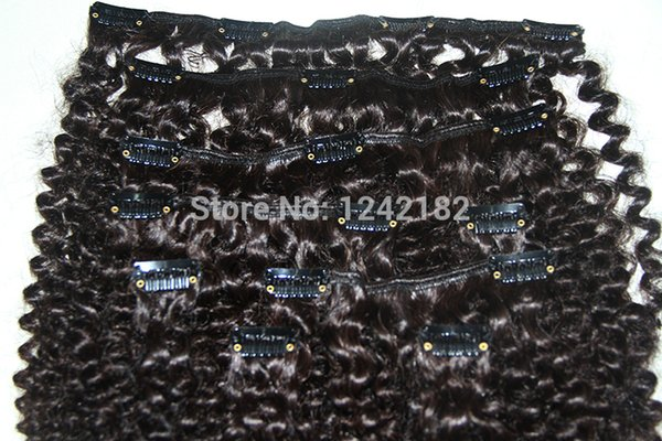 Afro Kinky Curly Clip In Hair Extensions Natural Hair African American Clip In Human Hair Extensions 100g 9Pcs/set Clip Ins