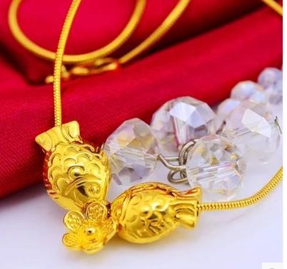 wunderschönes gelbes Gold gefüllt Fisch reichen Anhänger Damen Halskette (pfmcgy88 gfhf